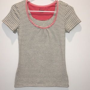 Boden Gray & White Striped Top Small
